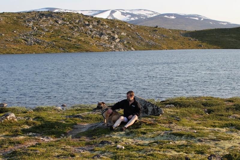 Boerboel ved fjellvann