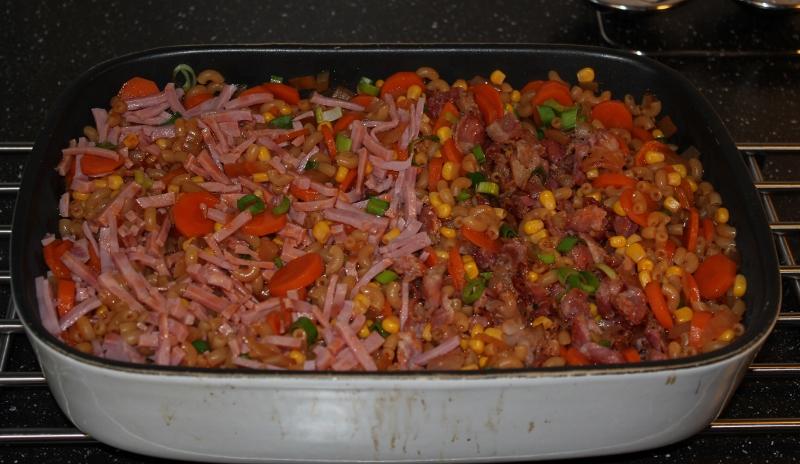 makaroni med skinke og bacon